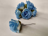 Роза крупная. Сатин. Цвет голубой, фото 1