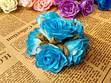 Роза крупная. Сатин. Цвет голубой, фото 3