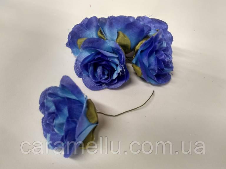 Роза крупная. Сатин. Цвет синий  (Копия)