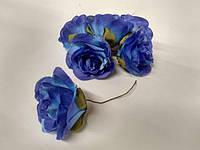 Роза крупная. Сатин. Цвет синий  (Копия), фото 1