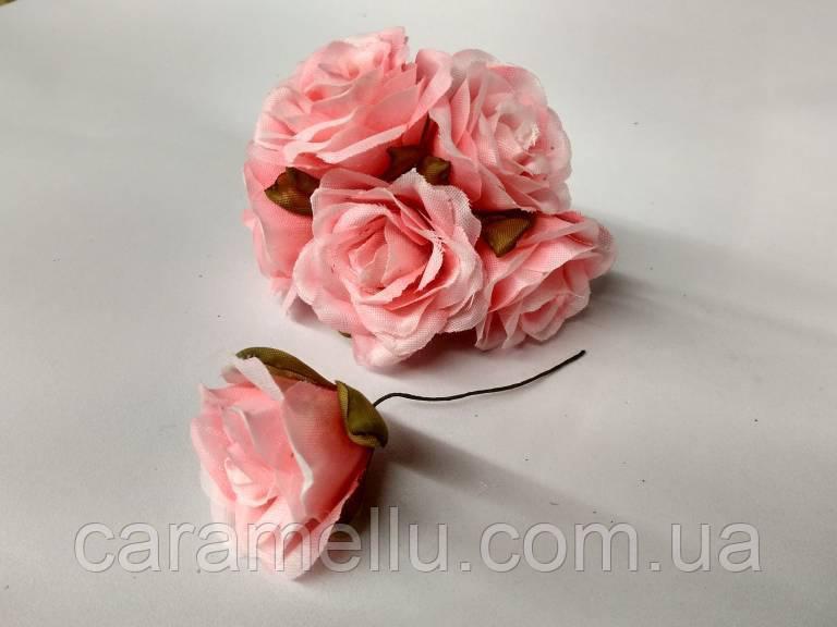 Роза крупная. Сатин. Цвет розовый