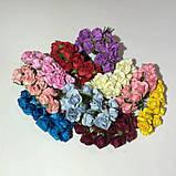 Розы бумажные на проволоке 12 штук.  Цвет белый, фото 2