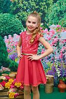 Платье детское для девочки Эльза клёш коралл 122, 128, 134, 140см гипюр на основе+трикотаж кукурузка пояс