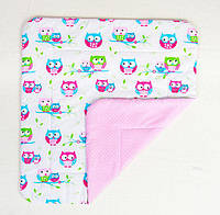 Детское хлопковое одеяло BabySoon Нежные совушки 80 х 85 см розовый (269)