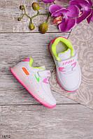 Детские кроссовки Sport для девочки белые с розовой подошвой 21-26р