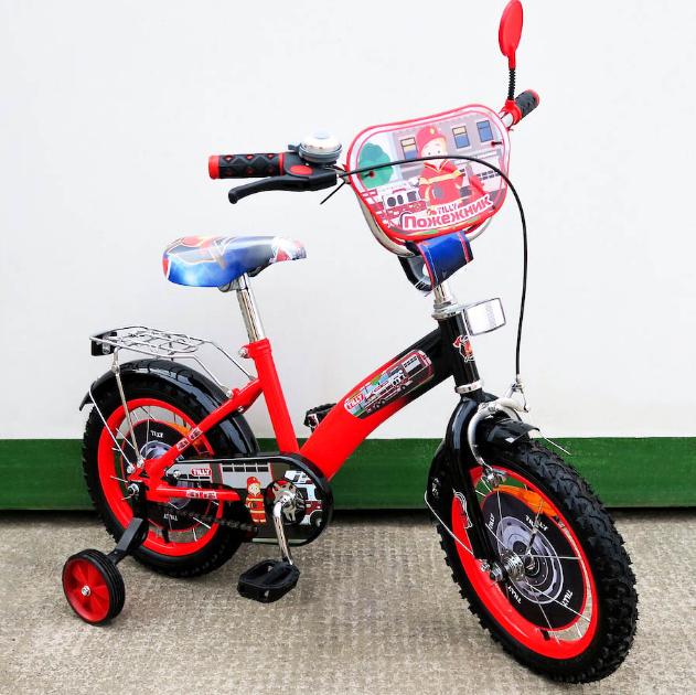 Велосипед двухколёсный детский 14 дюймов TILLY Пожежник 14 T-21429 red