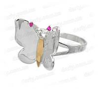"""Женское серебряное кольцо с золотой пластиной """"На крыльях весны"""""""