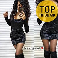 Женское платье черного цвета, с велюра / Платье короткое, клубное, изысканное, качественное, мягкое, 2018