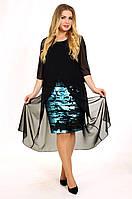 Enigma Store G 2057 Коктейльное платье с шифоновой накидкой и юбкой в пайетках