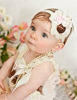 Повязка на голову детская с кружевом и цветами | Код товара YXC-6
