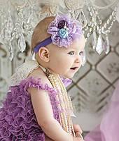 Повязка на голову детская с кружевом и цветами / Код товара YXC-7