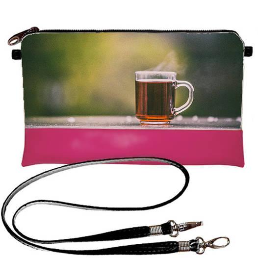 Розовый стильный клатч с принтом Чашка чая