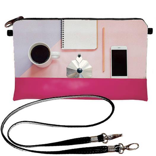 Розовый женский клатч с принтом Кофе тайм