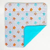 Детское хлопковое одеяло BabySoon Забавные совы на бирюзе 80 х 85 см (284)