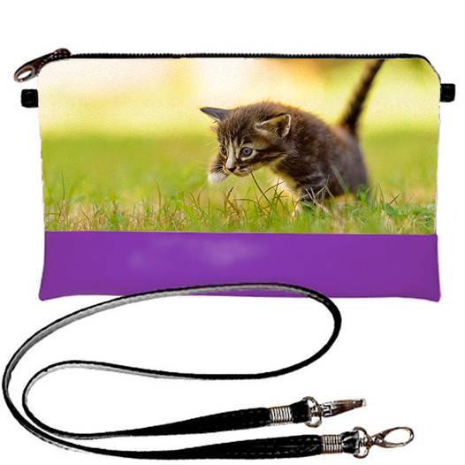 Фиолетовый женский клатч с принтом Кот