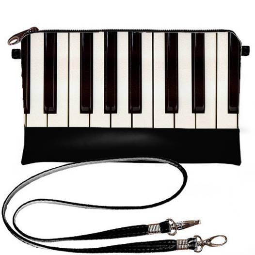 Черный женский клатч с принтом Пианино