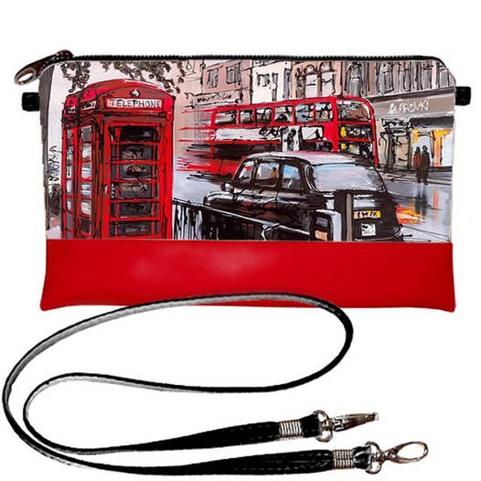 Красный женский клатч с принтом Лондон