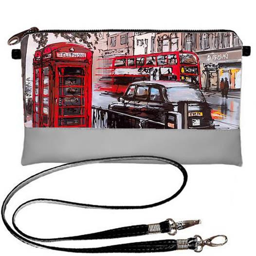 Серый женский клатч с принтом Лондон