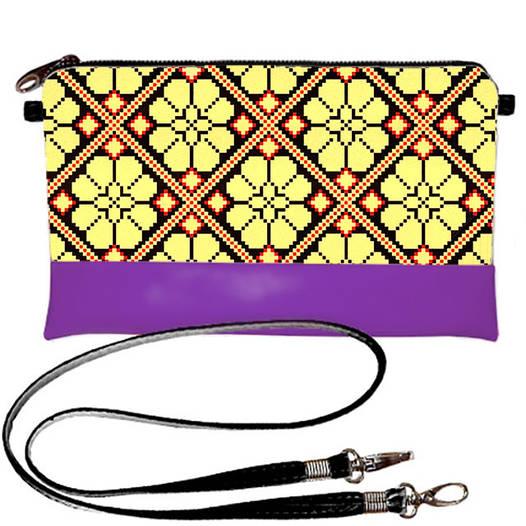 Фиолетовый женский клатч с принтом Вышиванка орнамент