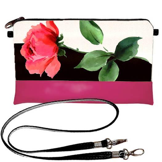 Розовый молодежный клатч с принтом Роза