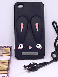Чехол Бампер 3D для Xiaomi Redmi 3 резиновый Funny-Bunny черный