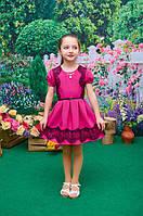Платье детское для девочки Дамочка короткий рукав фуксия 104, 110, 116, 122см брошь клеш кружево