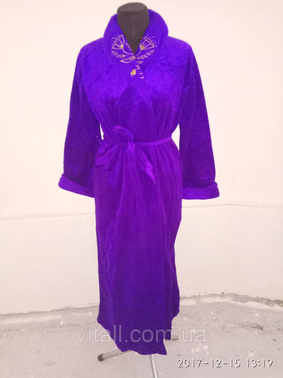 Халат  длинный шаль фиолетовый