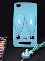 Чехол Бампер 3D для Xiaomi Redmi 3 резиновый Funny-Bunny голубой