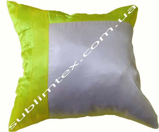 Подушка атласная,искусственный наполнитель, салатовая сторона, подушка декоративная, размер 43х43см, фото 2