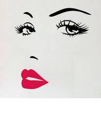 """Наклейка на стену, виниловые наклейки """"лицо девушки силуэт!"""" 70см*57см (лист 32см*60см)"""