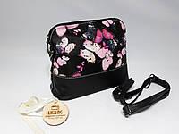 Маленькая черная сумочка с фиолетовыми бабочками
