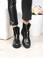 Черные женские ботинки из натуральной кожи с молнией LUX