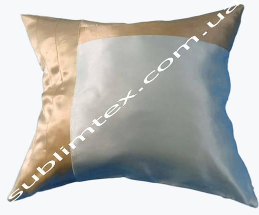 Подушка атласная,натуральный наполнитель, кремовая сторона, подушка декоративная, размер 43х43см, фото 2