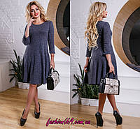 Платье Полуприталеное со Свободной Юбкой Т/Синее р.44-50, фото 1