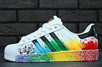 Кроссовки Adidas Superstar Supercolor Multicolor. Живое фото. (Реплика ААА+)