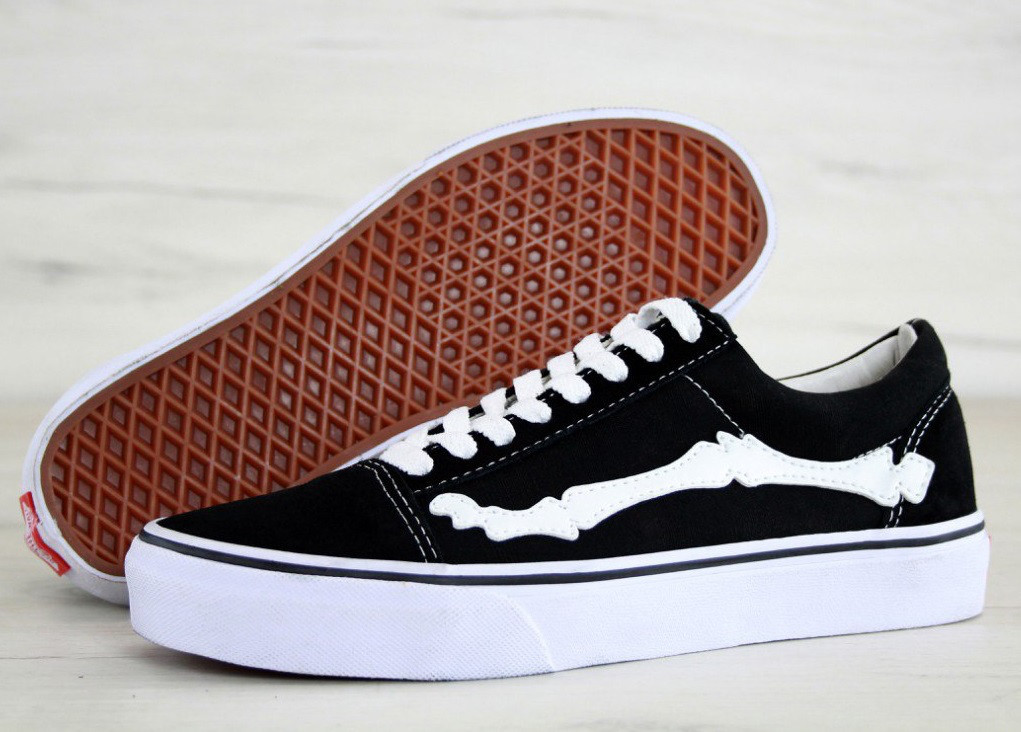 e512cb05dc18 Кеды Vans Old Skool Bone Jazz-Stripe (black white). Живое фото ...