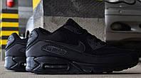 Кроссовки Nike Air Max 90 Triple Black. Живое фото (Реплика ААА+)