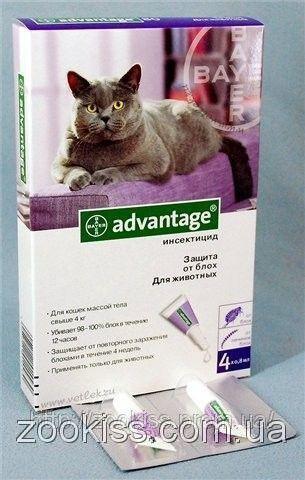 АДВАНТЕЙДЖ 80- средство от блох для кошек более 4 кг (уп 4 пип, цена за 1 шт) Байер. Германия.