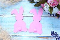"""Фетровый декор """"Кролик с хвостиком """", 11 х 6 см, розового цвета, фото 1"""