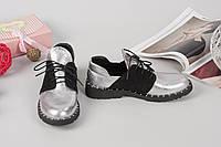 Кожаные туфли на шнуровке 36-40 р серебро