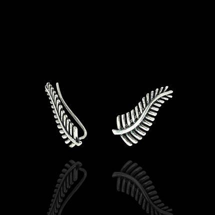 Серебряные серьги-каффы Папоротник, фото 2