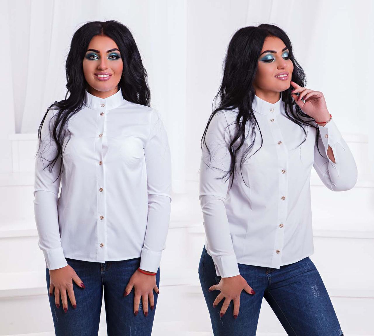 """Стильная женская рубашка в больших размерах 204 """"Софт Стойка Пуговички"""" в расцветках"""
