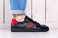 Кеды мужские летние Gucci Ace embroidered sneaker black (гучи, реплика) (реплика), фото 1