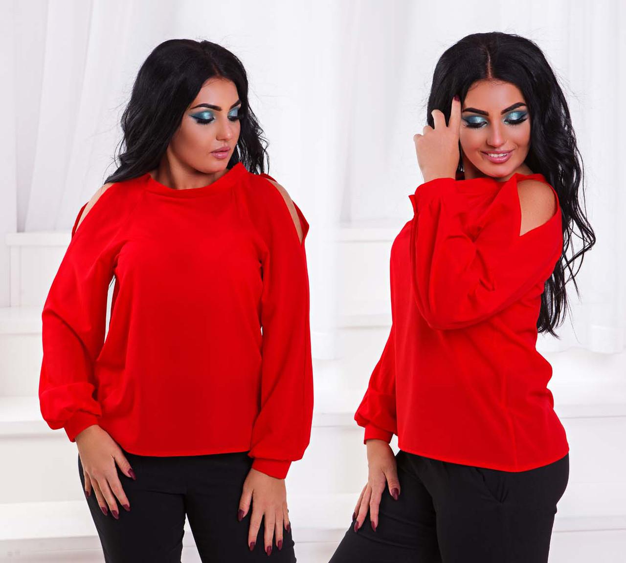 """Элегантная женская блуза в больших размерах 210 """"Креп Рукава Плечи Прорези"""" в расцветках"""