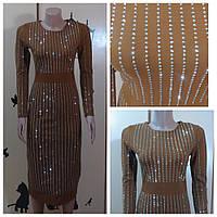 Платье карандаш Неопрен коричневый 44-46р