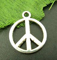 """Подвеска """" Знак Мира """", Цинковый сплав, Античное серебро, 14 mm"""