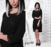Ассиметричное свободное платье с отделкой из кожзама tez55031098