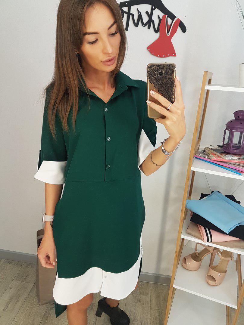 de8da0c15a89d03 Платье-рубашка с имитацией двойки с рукавом 3/4 tez20031108 - «Anna Tézor