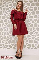 Платье с открытыми плечами и воланом tez50031117