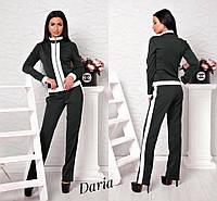 Женский брючный костюм с кофтой на молнии и белыми вставками tez5510347
